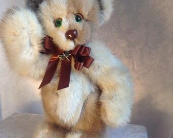 Patchwork real mink artist teddy bear