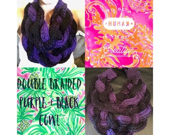 Double Braided Purple & Black Cowl