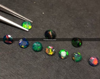 10 pieces 2mm Black Opal faceted round gemstone Natural Black Opal round faceted loose gemstone multi fire ethiopian black opal gemstone