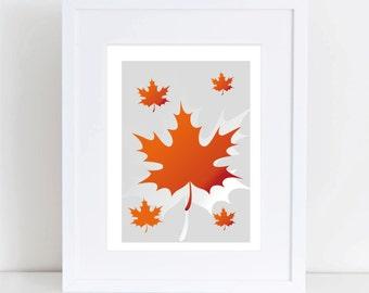 Digital maple leaf art print ,  leaf art, maple leaf silhouette art print, Instant Download, printable art