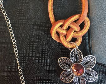 Leather Celtic knotted necklace with metal and brown crystal pendant