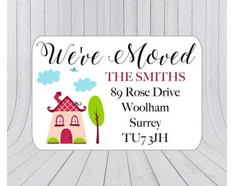 36 x We've moved return address labels, moving announcement stickers, we've moved envelope seal, moving house announcement 062
