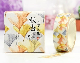 AUTUMN APRICOT Japanese Washi Tape, Masking Tape, Planner Stickers,Crafting Supplies,Scraping Booking,Adhesive Tape,Tape,Floral Washi Tape