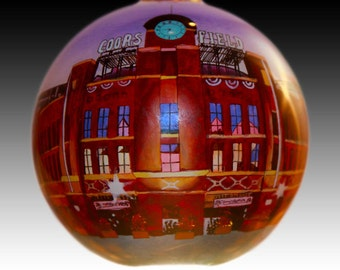 Denver Coors Field - Inside Painted Glass Christmas Ornament