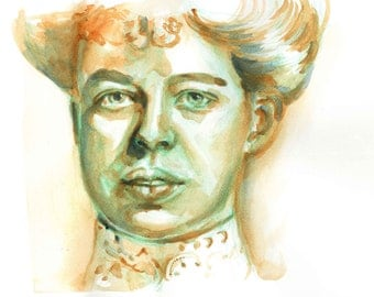 Print of Eleanor Roosevelt watercolor painting