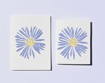 Aster Card, Floral Printed Card, Handmade Card, Block Print Flower, Purple Flower Notecard, Hand Printed Card, Greeting Card for Gardener
