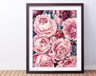 Wall prints Peony flowers Digital print Watercolor print Digital download art Watercolor download Peony flower print Peony watercolor