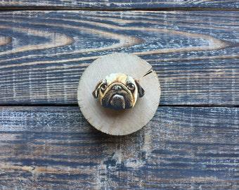 Pug brooch   pin   dog   gift