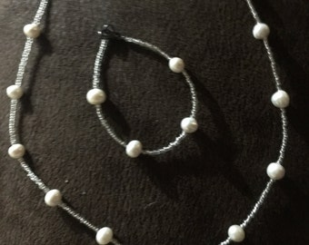 13 Freshwater Pearl Necklace and 4 Pearl Bracelet