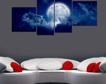 Full Moon - split framed canvas print