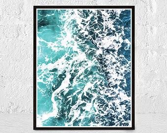 Wave Print, Wave Art, Ocean Print, Sea Art, Sea Print, Sea Wall Art Printable, Blue Ocean Wall Art, Surf Art Print,  Beach Coastal Decor