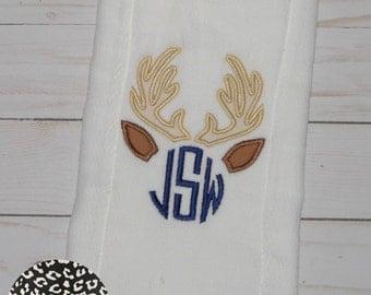 Deer Monogram Applique Burp Cloth, Baby Boy Burp Cloth, Baby Boy Gift