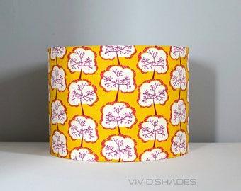 Retro yellow tree fabric light / lampshade handmade by vivid shades, stylish japanese abstract pattern custom made funky gift