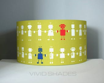 Robot fabric lampshade designed and printed in England, 40cm handmade by vivid shades modern retro funky pattern custom made drum shade kids