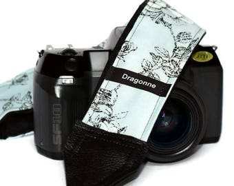 Handmade strap/ Black flower pattern/ Camera strap/ Gift for woman/ Gift idea/ Camera accessory/ Adjustable strap/ Gift for friend/ Classic