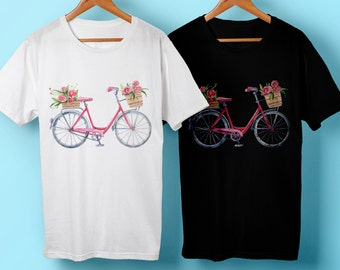 Bicycle, bike, flower shirt, floral shirt, gift for her, woman shirt, bike shirt, Bicycle shirt, retro shirt, flowers, floral,