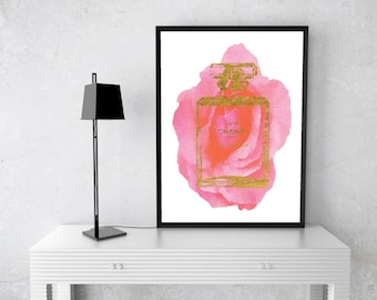 PRINTABLE Chanel Perfume Bottle Watercolour, Art Print, Black, gold, Coco Chanel, no 5, number 5, Watercolor, Fashion Illustration,