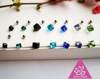 1pcs piercing crystal cube titanium helix cube size 4mm or 6mm hypoallergénique waterproof