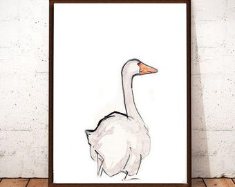 Goose,Bird Printable Art, Bird Drawing, Modern Wall Art, Instant download, Bird Art, Digital Art