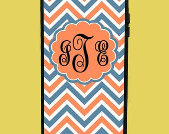 Orange&Blue Chevron Design Phone Case with 3 initials.  Customized Name. Monogrammed Case. Personalized.