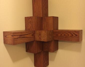Decorative Oak Cube Corner Shelf