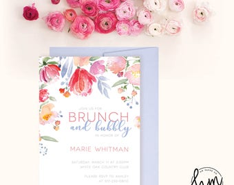 Printable Bridal Shower Invitation - Brunch and Bubbly