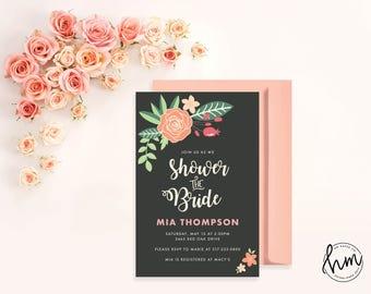 Printable Bridal Shower Invitation - Coral Rose