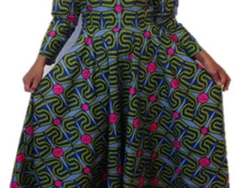 Long Sleeve Maxi Print Dress