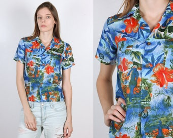 Vintage Hawaiian Shirt // 90s Cropped Blue Collared Top Palm Tree Hula Girl Womens - Extra Small xs