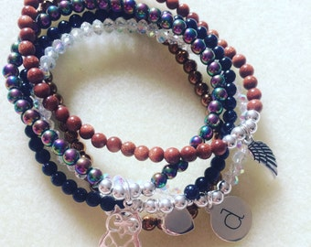 Sterling Silver and Gemstone Stacking Bracelets