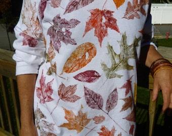 Autumn leaf hand  painted  t-shirt- Fall nature  organic shirt -Hand painted colorful leaves-Longsleeve creative shirt- artistic shirt-