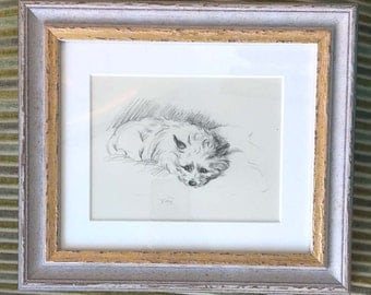 Framed Vintage Lucy Dawson Print of a Terrier