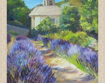 Lavender Fields in Provence,  Landscape oil painting on canvas,  original artwork,  France art, Travel gift, lavender, provence landscape