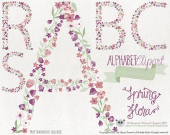 Flowers Clipart 80% OFF! - Alphabet Clipart Letters Spring Flora 3 Flowers Floral Vector Graphics PNG Purple