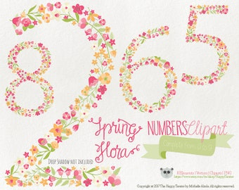 Flowers Clipart 70% OFF! - Numbers Clipart Spring Flora 6 Flowers Floral Vector Graphics PNG Orange Pink
