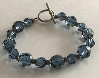 Swarovski Crystal Bracelet, Denim Blue Swarovski Bracelet, Blue Bracelet, Blue Crystal Bracelet, Gifts for Bridesmaid, Handcrafted Jewelry