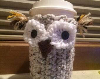 Crocheted owl coffee cozie