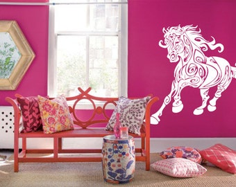 Wall Decal Sticker Bedroom horse unicorn cartoon cute kids girls boys room 308b