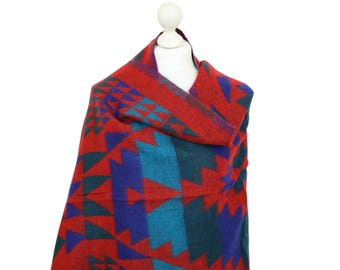 Red Blanket Shawl Wrap, Tribal Shawl, Shawls, Winter Shawls, Womens Shawl, Oversized Shawls, Gifts For Her, Shawls & Wraps, Accessories