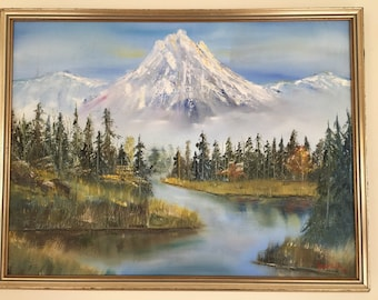 Vintage Original Oil Painting on Canvas Mountain Water Evergreens Scene West Coast US/Alaska Signed J Tulle, Estate sale find.