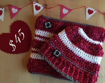 Valentine's Day Messy Bun Beanie + Cowl Set