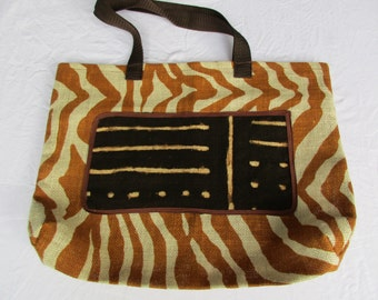 Mudcloth and Burlap Zebra style Reusable Tote