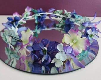 Artificial flower crown, wedding head halo and wreath.