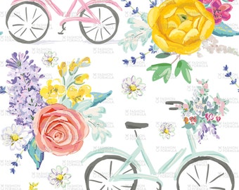 Bicycles with Bouquets of Flowers Fabric by OJardin