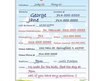 Magnetic Babysitter Dry Erase Memo Info. Board For Fridge