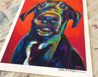 Colorful Modern Dog Art Great Dane Print by Artist Robert Phelps