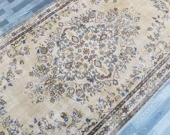 "Vintage Anatolian Turkish Oushak RUG,Size : 5'1"" x 8'9"" --- 156 x 270 Flower Design,Pastel colors rug,Turkish Carpet,Vintage Turkish Rug"