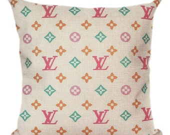 Louis Vuitton Inspired Pillow Cover Decorative Pillow Pink Black White Beige Fashion Home Decor Couture LV Classic Multicolor Monogram