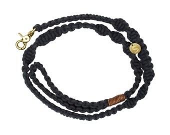Macramé Dog Leash - Black