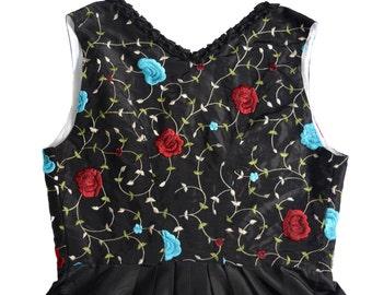 Vintage Original Steindl ® München - Salzburg dress black embroidery flowers floral